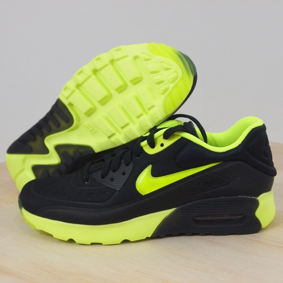 New Nike Air Max 90 Ultra SE GS Black Volt Green